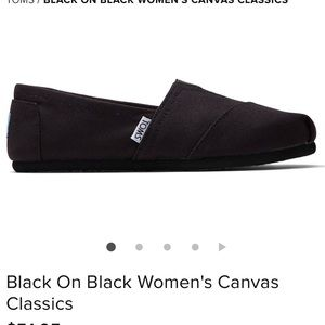 TOMS BLACK ON BLACK CANVAS CLASSIC FLATS